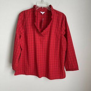 New Crown & Ivy Red Plaid Highland Holiday Top